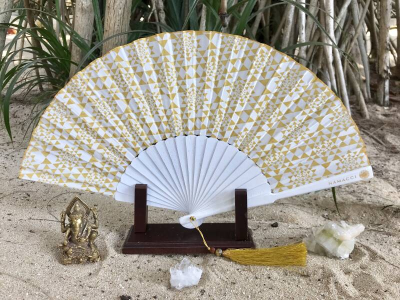 White Sri Yantra Sacred Geometry Silk Handfan For Wealth, Prosperity & Divine Union