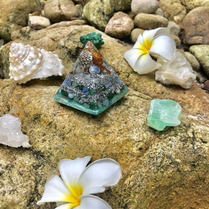 Green Goddess Sacred Geometry Flower Of Life Orgonite® Orgone Pyramid For Love, Magic & Transformation