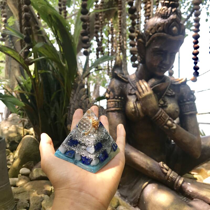 Sky God(desses) Flower Of Life Sacred Geometry Orgone Orgonite® Pyramid For Creativity, Truth & Self-Expression