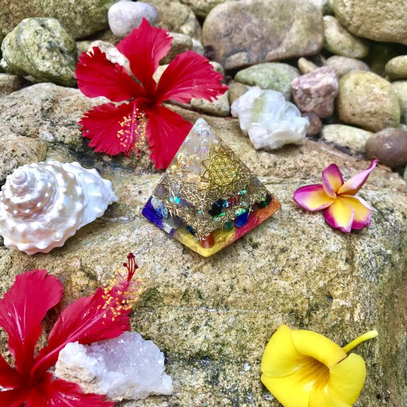 7-Chakra Rainbow Sacred Geometry Healing Orgonite® Orgone Pyramid For Balance, Harmony & Alignment