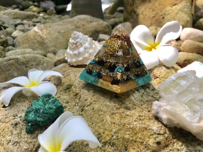 Turquoise Sea God(dess) Sacred Geometry Orgone Orgonite® Pyramid For Confidence, Trust & Willpower