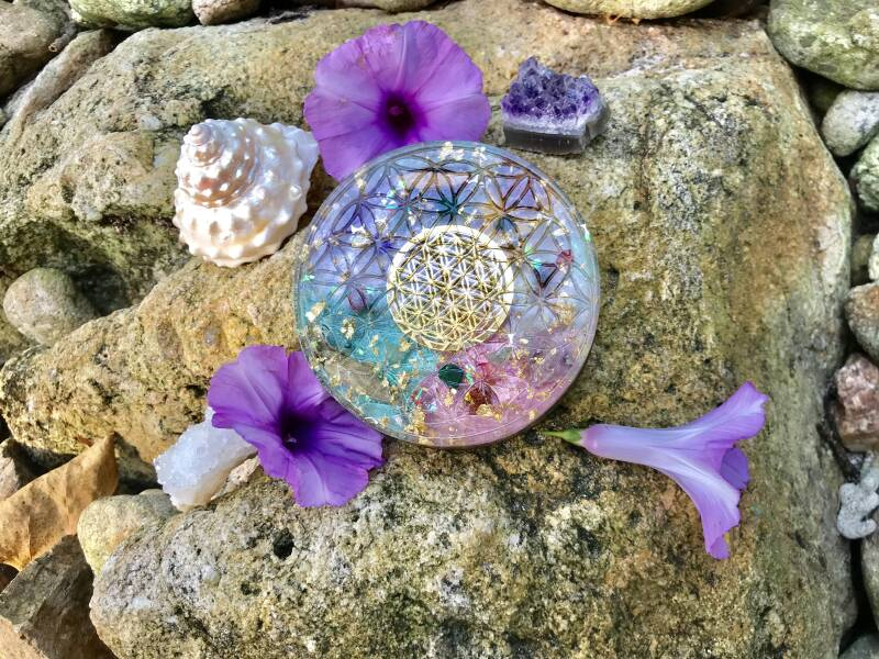 Pink Goddess Flower Of Life Sacred Geometry Orgonite® Orgone  XL Charging Plate For Magic, Divinity & Abundance