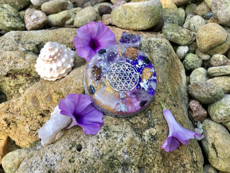 Amethyst Goddess Flower Of Life Sacred Geometry Orgonite® Orgone XL Charging Plate For Wisdom, Activation & Protection