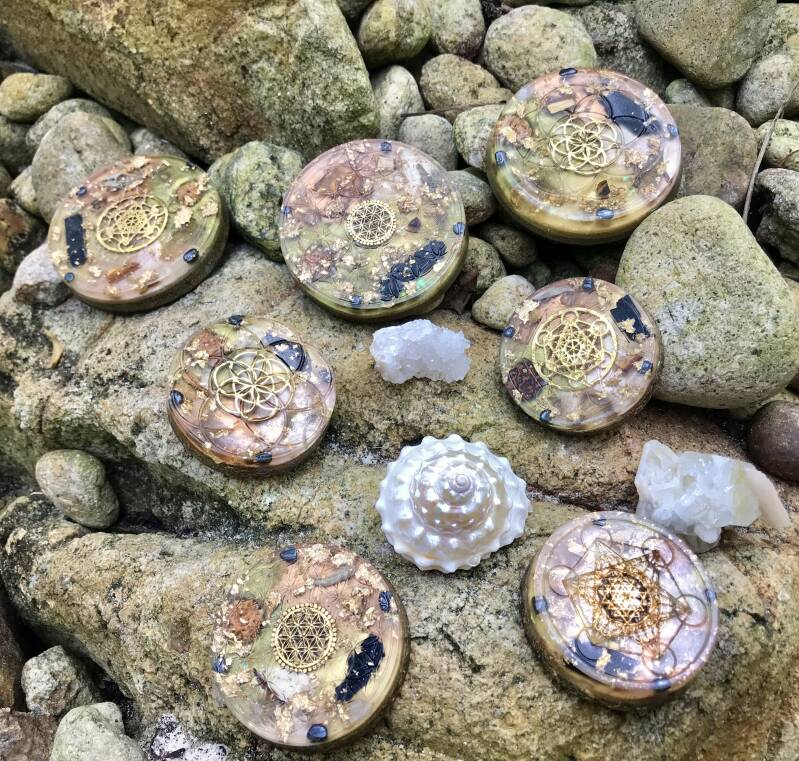 Black Ancient Magick Sacred Geometry Orgonite® Orgone Charging Plate For Power, Protection & Prosperity