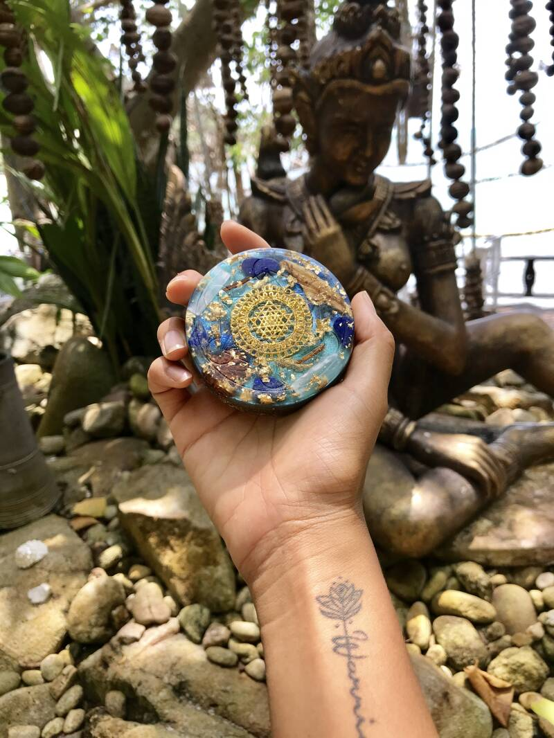 Sky God(dess) Sacred Geometry Orgonite® Orgone Charging Plate For Creativity, Truth & Self-Expression