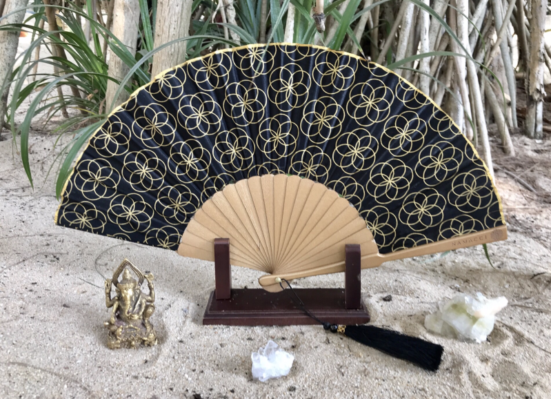 Black Seed Of Life Sacred Geometry Silk Handfan For Protection, Blessings & Divine Energy
