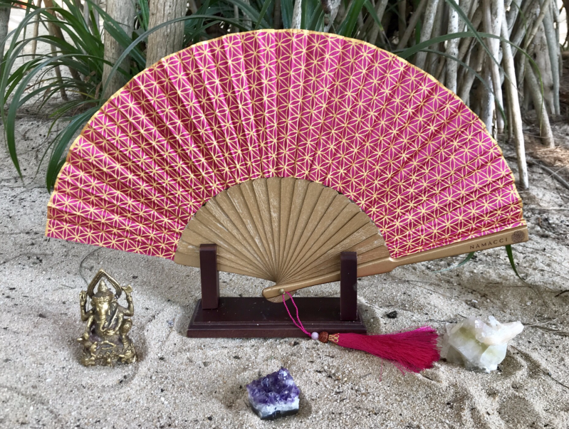 Fuchsia Pink Flower Of Life Sacred Geometry Silk Handfan For Inspiration, Oneness & Creativity