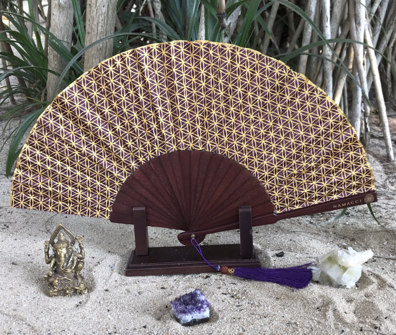 Purple Indigo Flower Of Life Sacred Geometry Silk Handfan For Inspiration, Oneness & Creativity