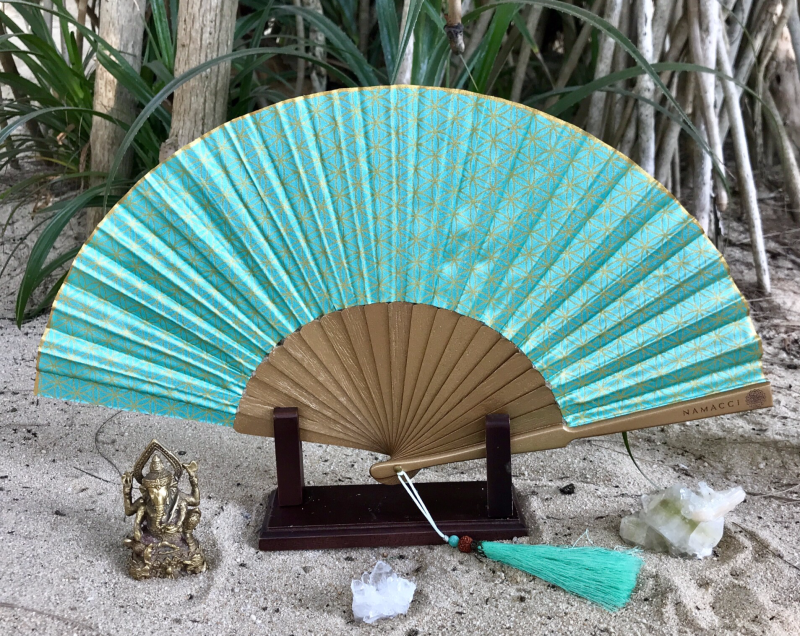 Turquoise Flower Of Life Sacred Geometry Silk Handfan For Inspiration, Oneness & Creativity