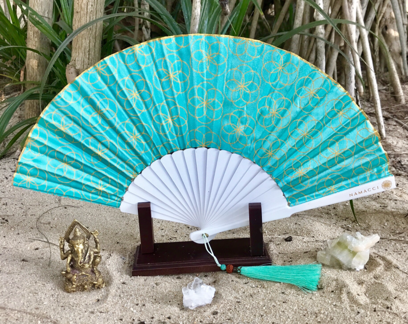Turquoise Seed Of Life Sacred Geometry Silk Handfan For Protection, Blessings & Divine Energy