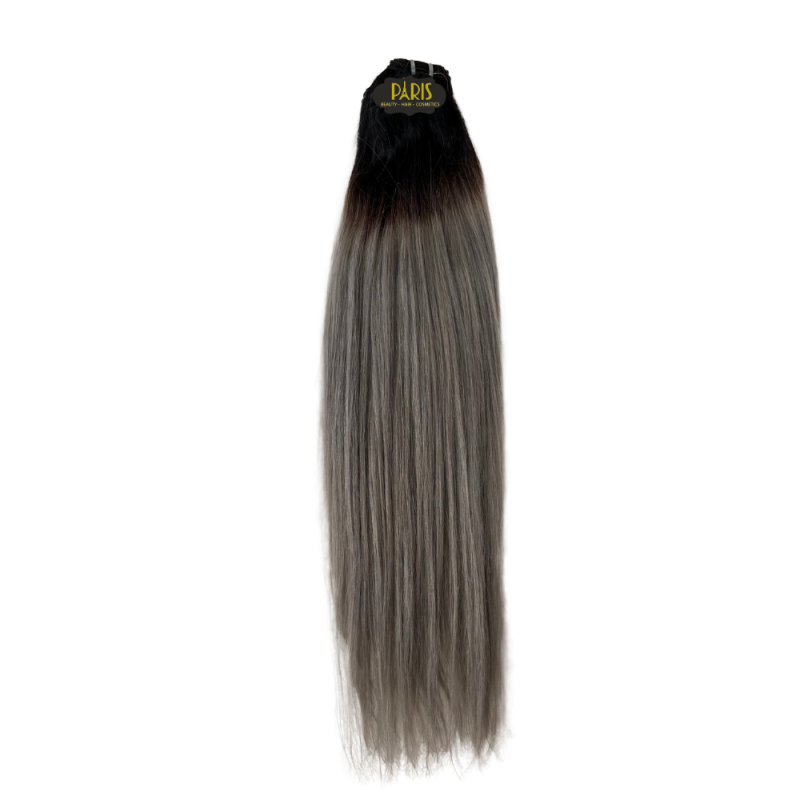 100% Brazilian Virgin Remy Hair Straight 26 inch Ombre Grey (100g)