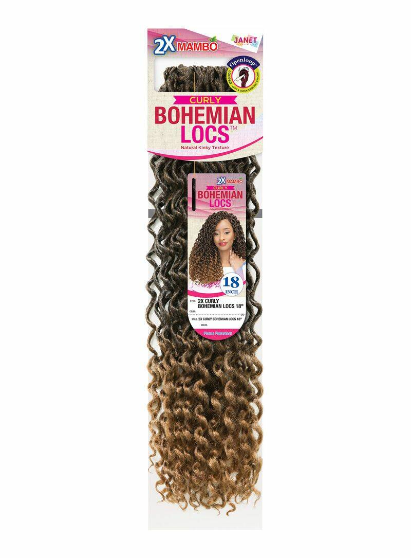 Janet Collection Curly Bohemian Locs Natural Kinky Texture Color 30 - 18 inch Godness Lock Style