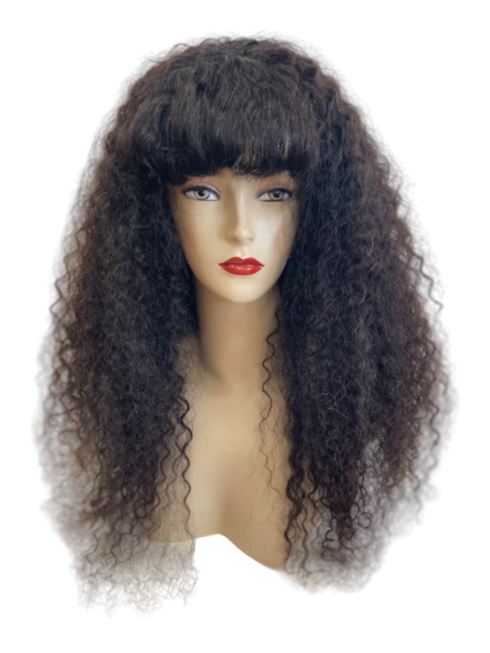 Brazilian 100% Human Virgin Hair Wig Deep Curly With Fringe 24 inch (250g)