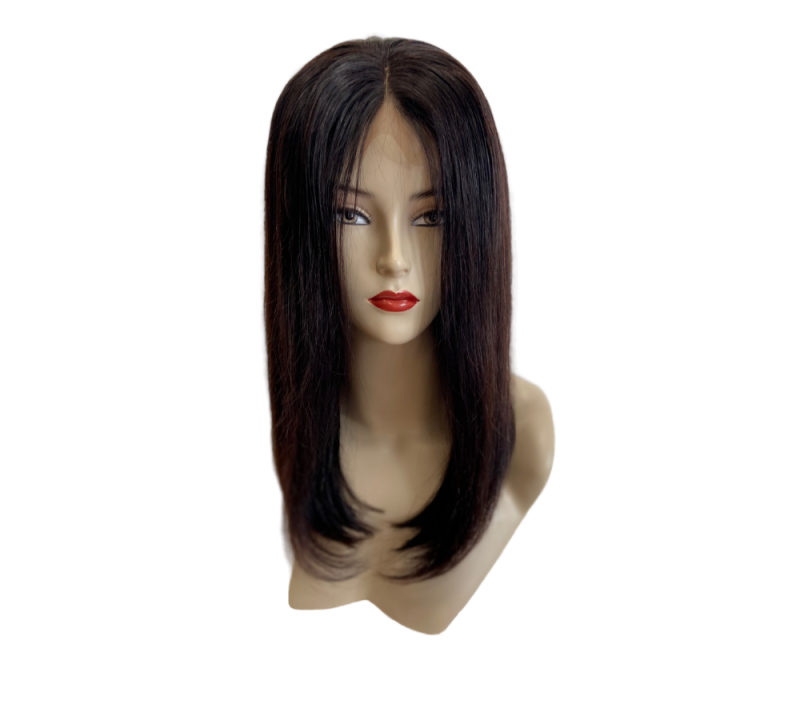 Indian 100% Human Virgin Hair Wig Straight Bobline Front Lace 16 inch (180g)