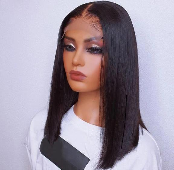 STRAIGHT BOB LACE FRONT PRUIK BRAZILIAN HAIR 16 INCH 180 DENSITY