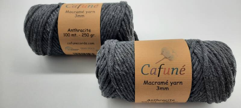 Macrame garen - Antraciet - 3 mm