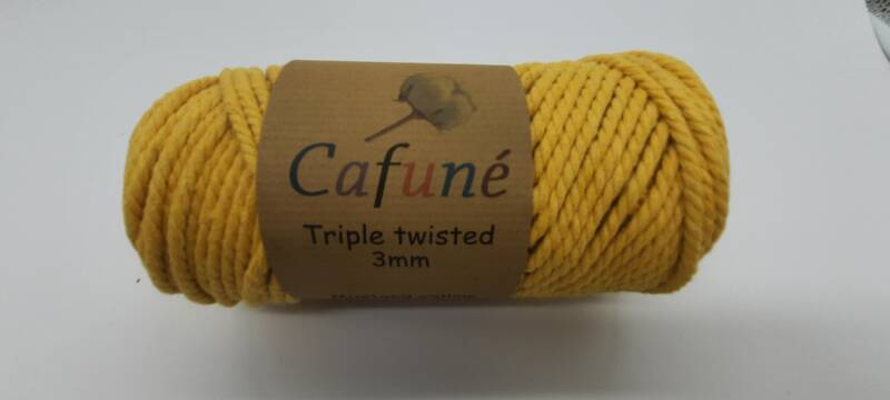 Macrame Touw - Mosterdgeel - 3 mm - Triple Twisted