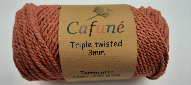 Macrame touw - Terracotta - 3 mm