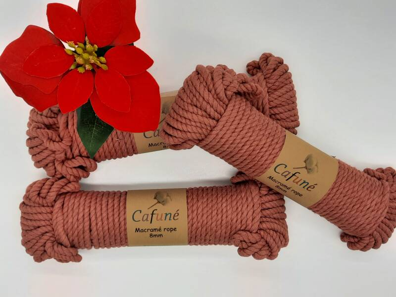 Macrame touw - Terracotta - 8 mm