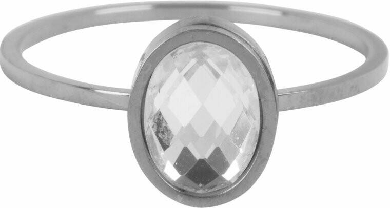Modern oval crystal ring