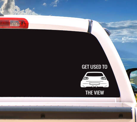 Autosticker MK5 'GET USED TO THE VIEW'