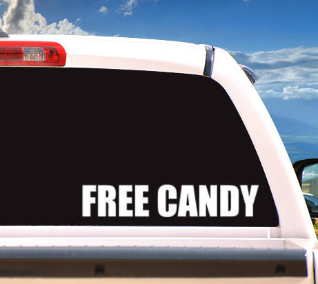 Autosticker 'FREE CANDY'