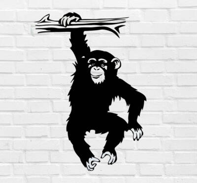 Muursticker 'Monkey' 40x30