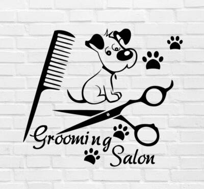 Muursticker 'Grooming Salon' 25x30