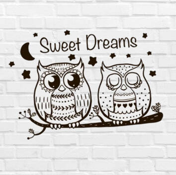Muursticker 'Owls Sweet Dreams' 40x30