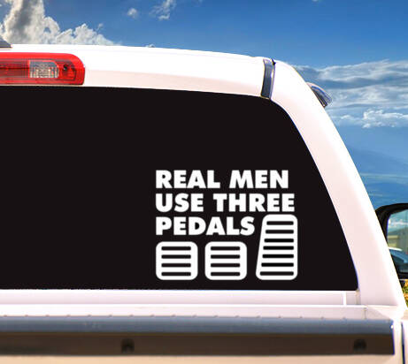 Autosticker 'Real Men Use Three Pedals'