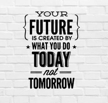 Muursticker 'Your Future Is Created By What You Do Today' 45x30