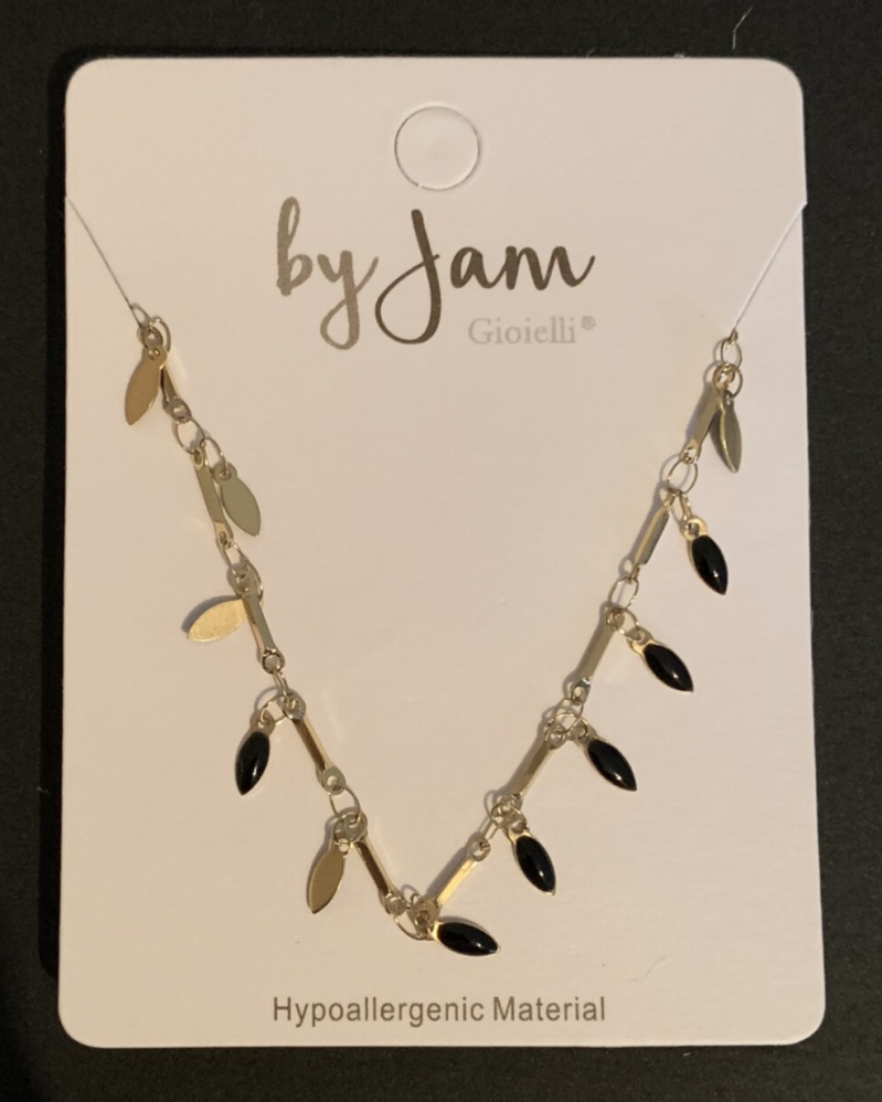 By jam ketting black drops goud