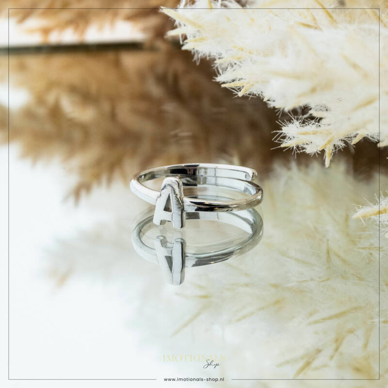 Imotionals One Size  Ring Zilver of Goudkleurig Letter A
