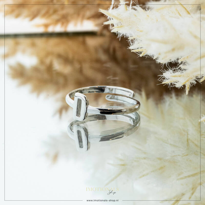 Imotionals One Size  Ring Zilver of Goudkleurig Letter D