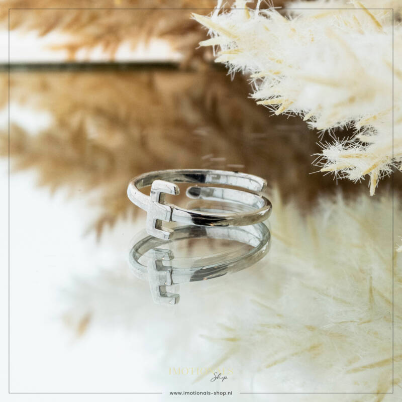 Imotionals One Size  Ring Zilver of Goudkleurig Letter E