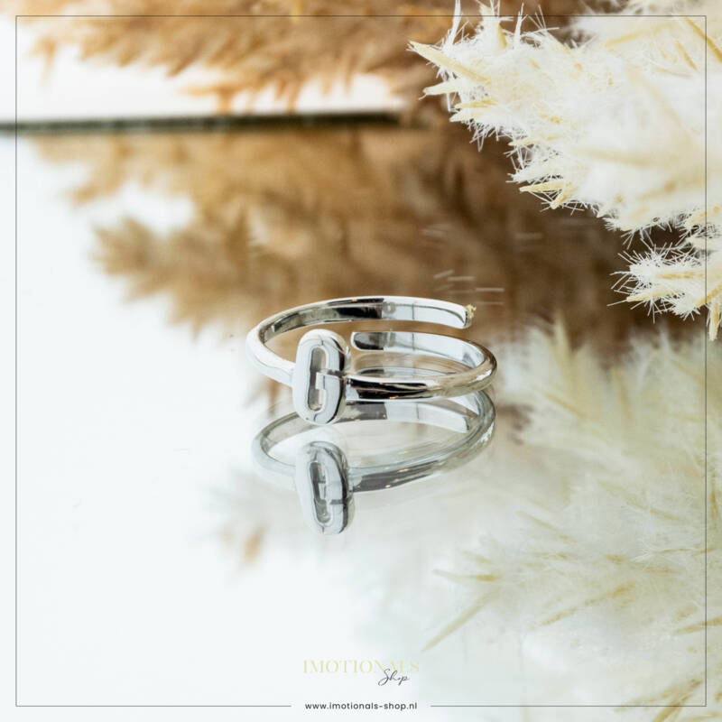 Imotionals One Size  Ring Zilver of Goudkleurig Letter G