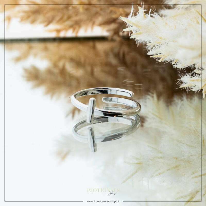 Imotionals One Size  Ring Zilver of Goudkleurig Letter I