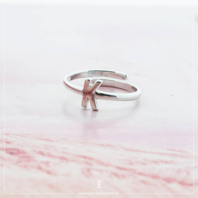 Imotionals One Size  Ring Zilver of Goudkleurig Letter K