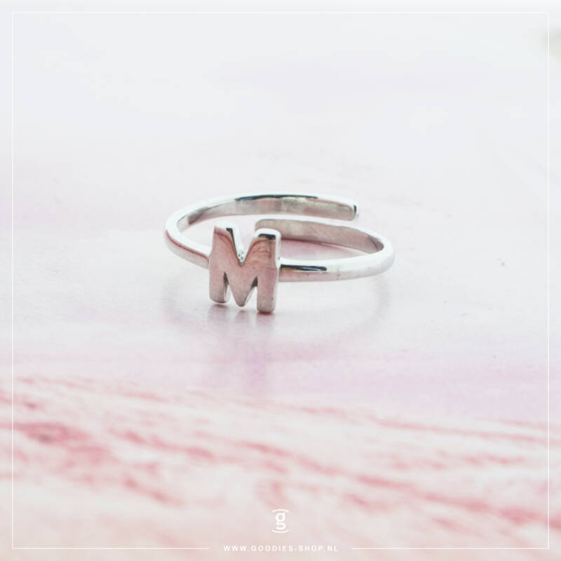 Imotionals One Size  Ring Zilver of Goudkleurig Letter M