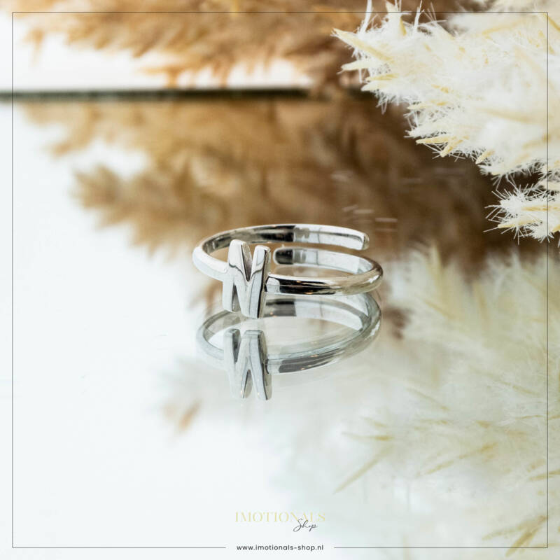 Imotionals One Size  Ring Zilver of Goudkleurig Letter N