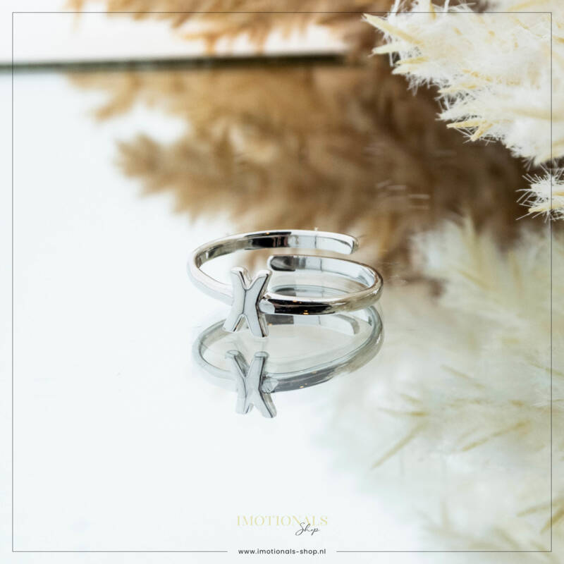 Imotionals One Size  Ring Zilver of Goudkleurig Letter X