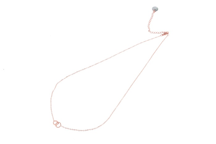 Go dutch label ketting Double circle (small) rosé