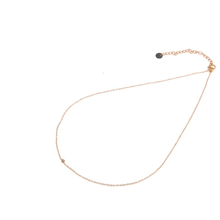 Go dutch label ketting mini crystal goud
