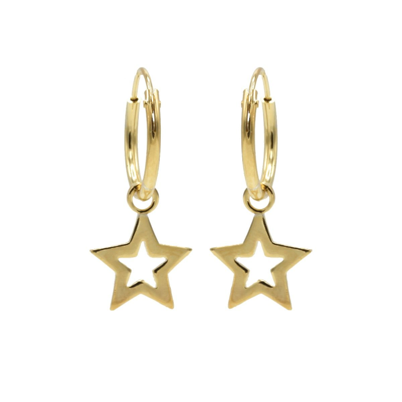 Karma Hoops Symbols Open Star Goldplated