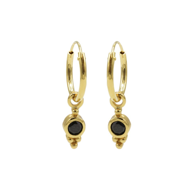 Karma Hoops Symbol Black Zirconia Dot Triple Dots Goldplated