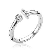 ZINZI ring open rond staafje wit ZIR1822