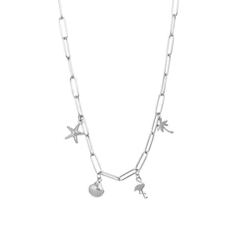 IXXXI ketting with charms zilver