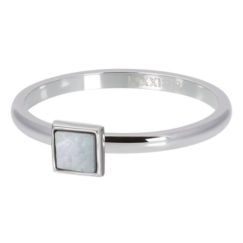 IXXXI ring white shell stone square zilver
