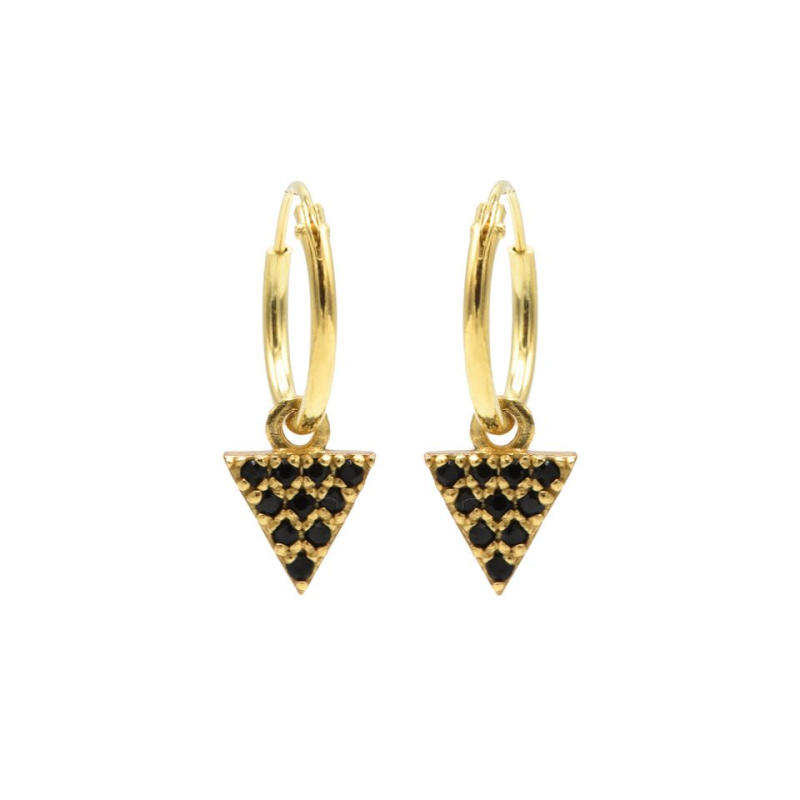 Karma Hoops goud Symbols Black Zirconia Triangle 2