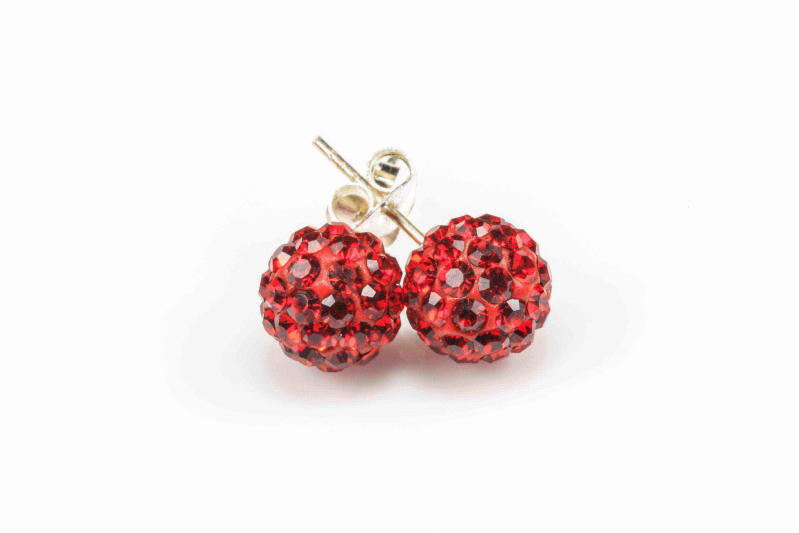Karma studs zilver Red Ruby